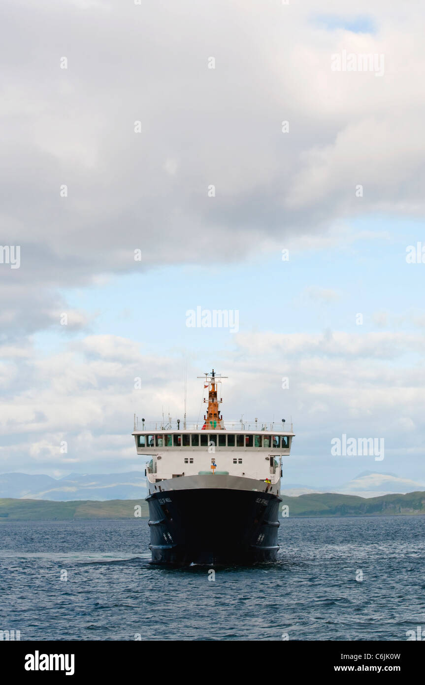 The Calmac ferry sailing from Oban on its way to Craignure on the Isle of Mull in Scotland Stock Photo