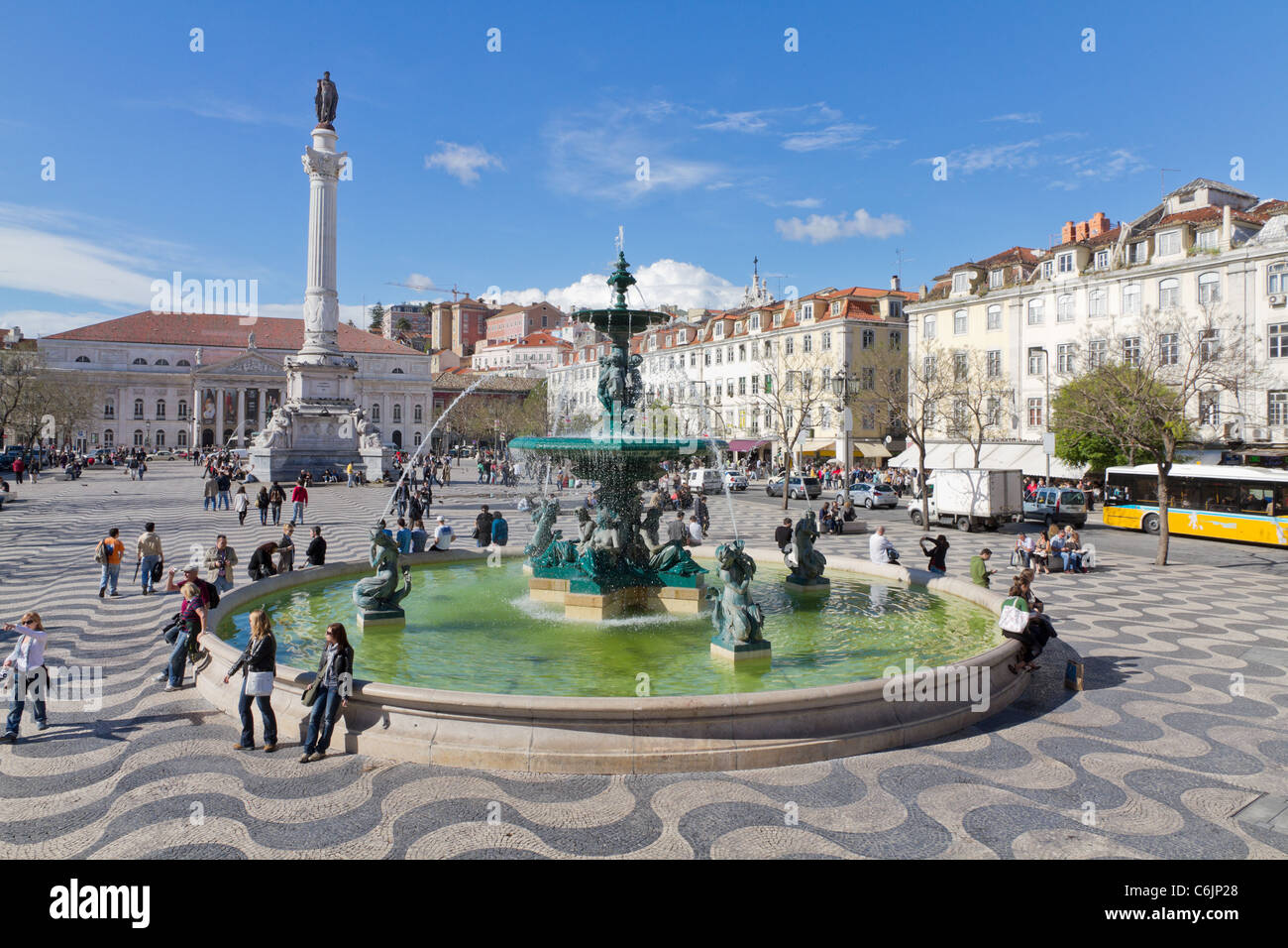 Rossio square the liveliest placa in Lisbon with wavy cobble stone pattern Portugal Stock Photo