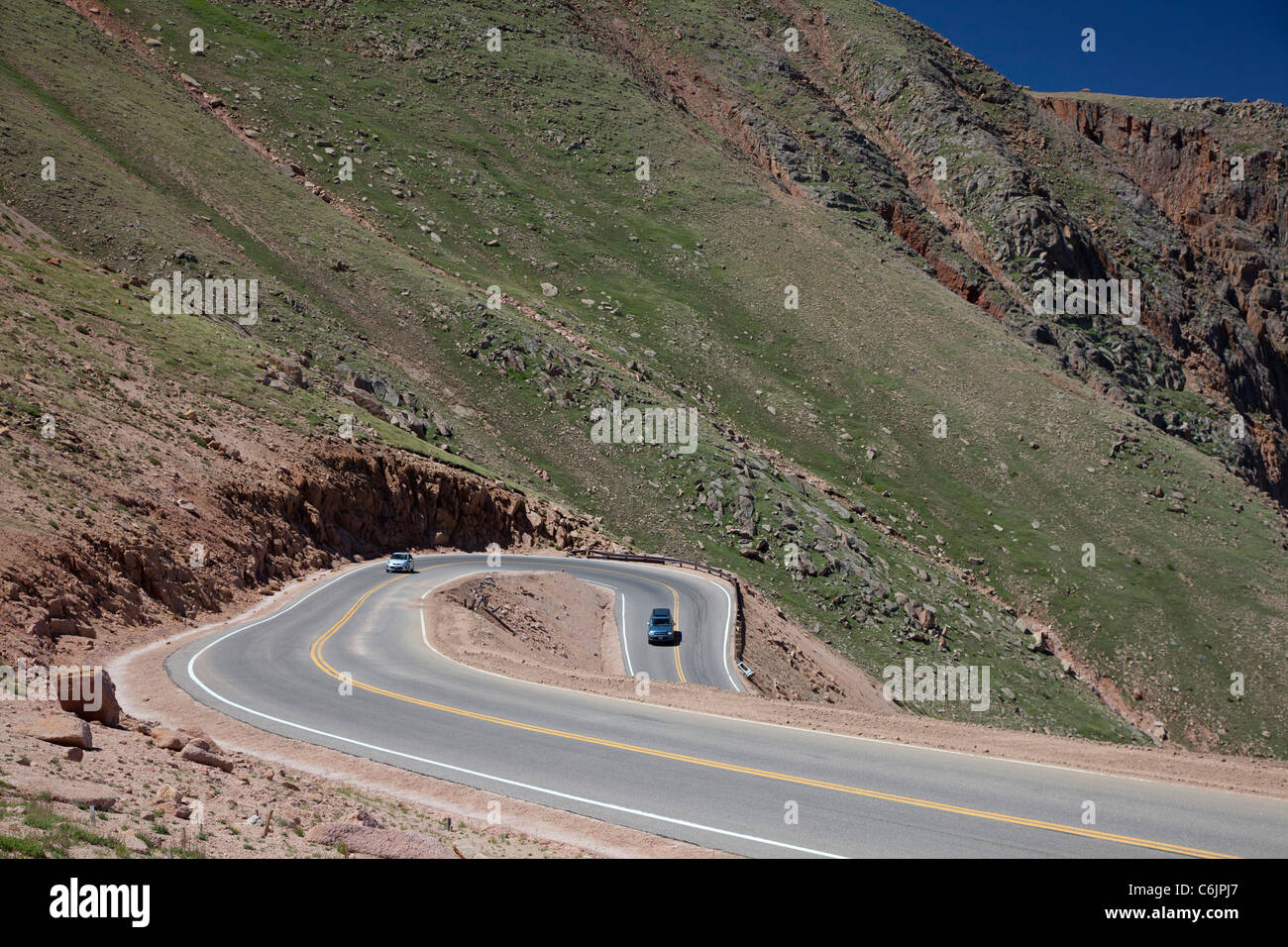 Rocky Mountain Auto >> Colorado Springs, Colorado - Cars on the Pikes Peak Highway, a toll Stock Photo: 38521567 - Alamy