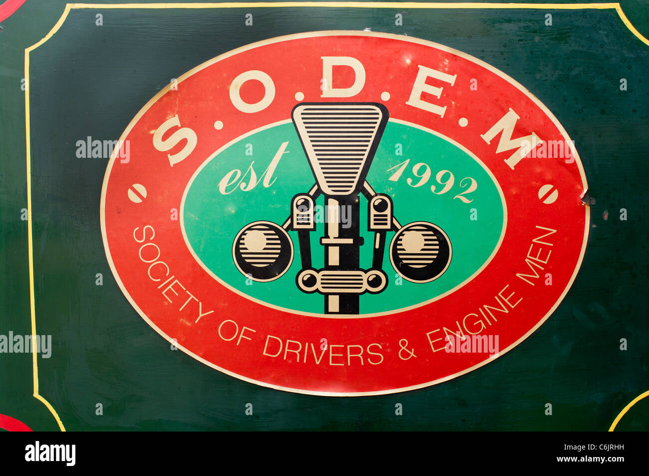 Amusing name plate on steam engine S.O.D.E.M. representing the Society of Drivers & Engine Men - Stock Image