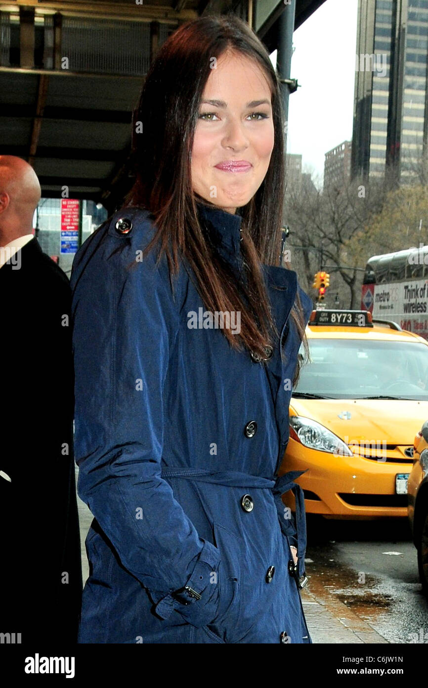 Ana Ivanovic Serbian tennis player outside her Manhattan hotel wearing a blue coat New York City, USA - 02.03.10 - Stock Image