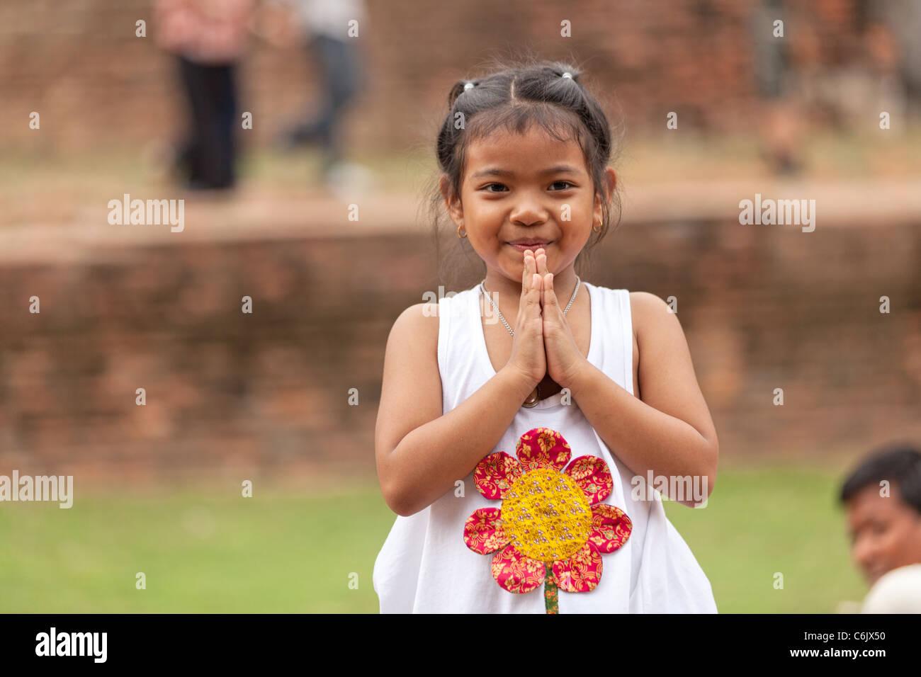Thai little girls traditional greetings ayuthaya thailand stock thai little girls traditional greetings ayuthaya thailand m4hsunfo