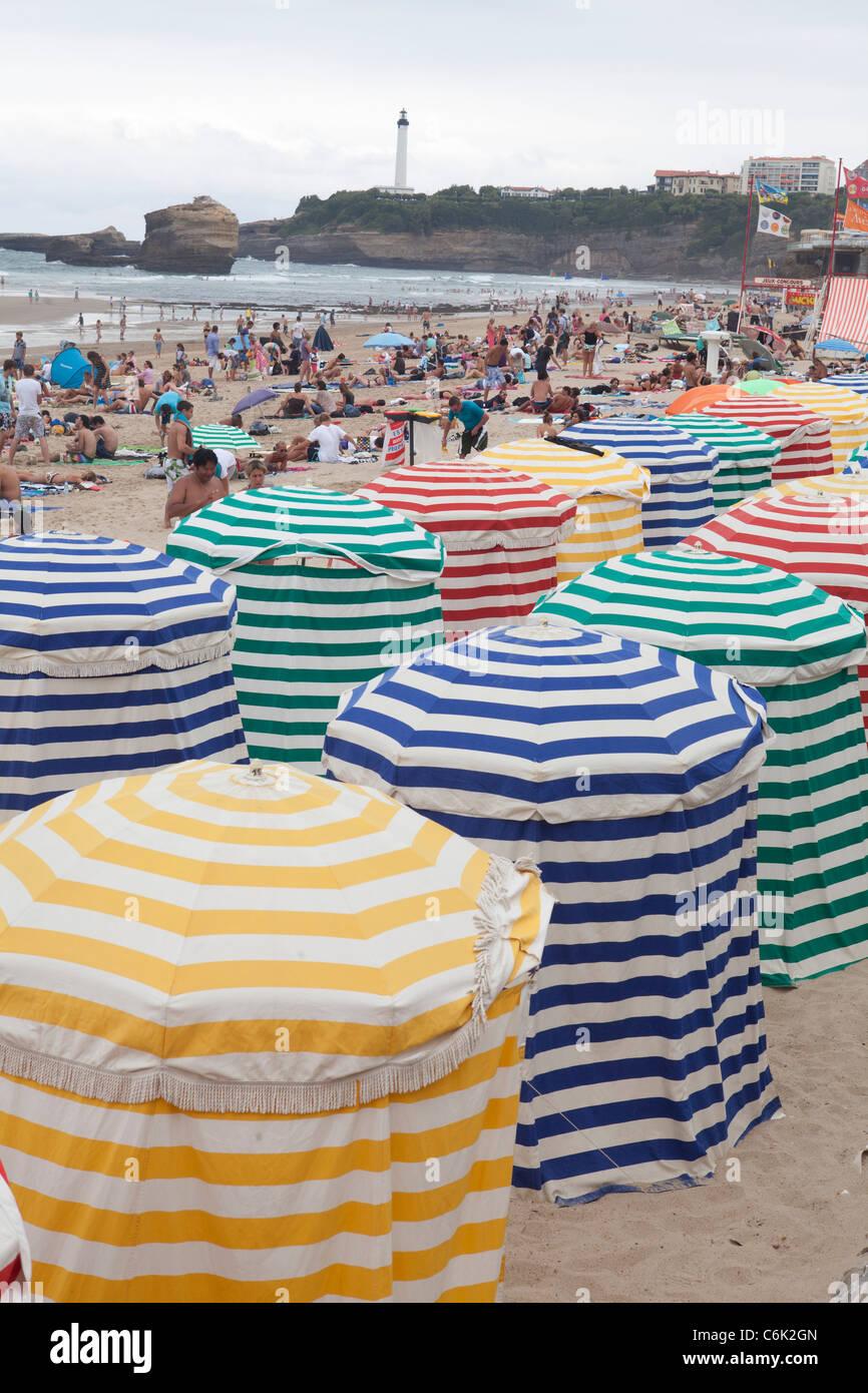 Biarritz Miarritze France Euskadi Beach summer holidays vacation Spain sea people - Stock Image