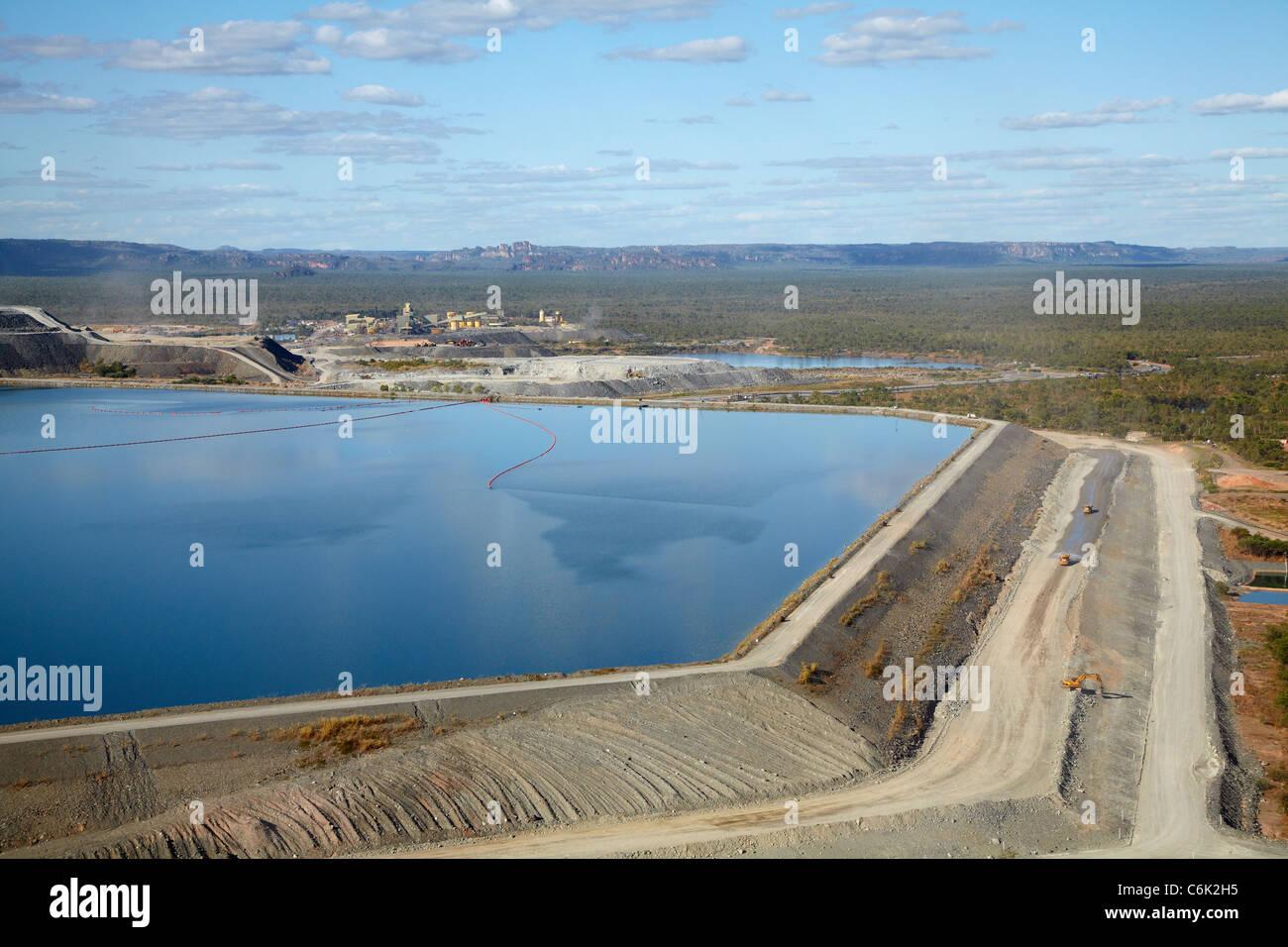 Tailings dam, Ranger Uranium Mine, Kakadu National Park, Northern Territory, Australia - aerial - Stock Image