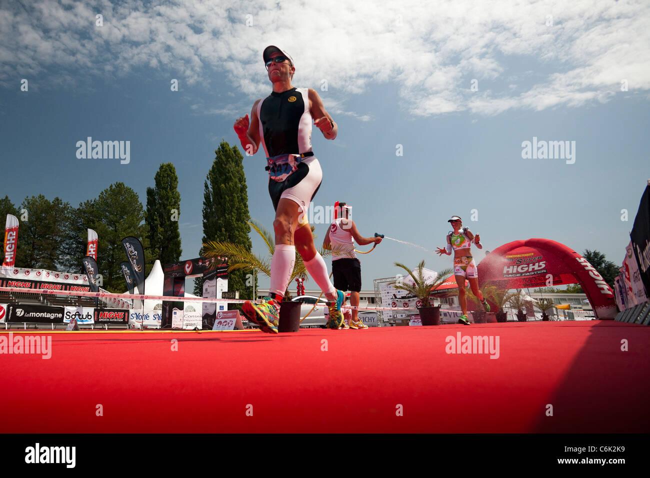 The Vichy long distance Triathlon race (Allier - France). Triathlon longue distance de type Ironman, à Vichy - Stock Image