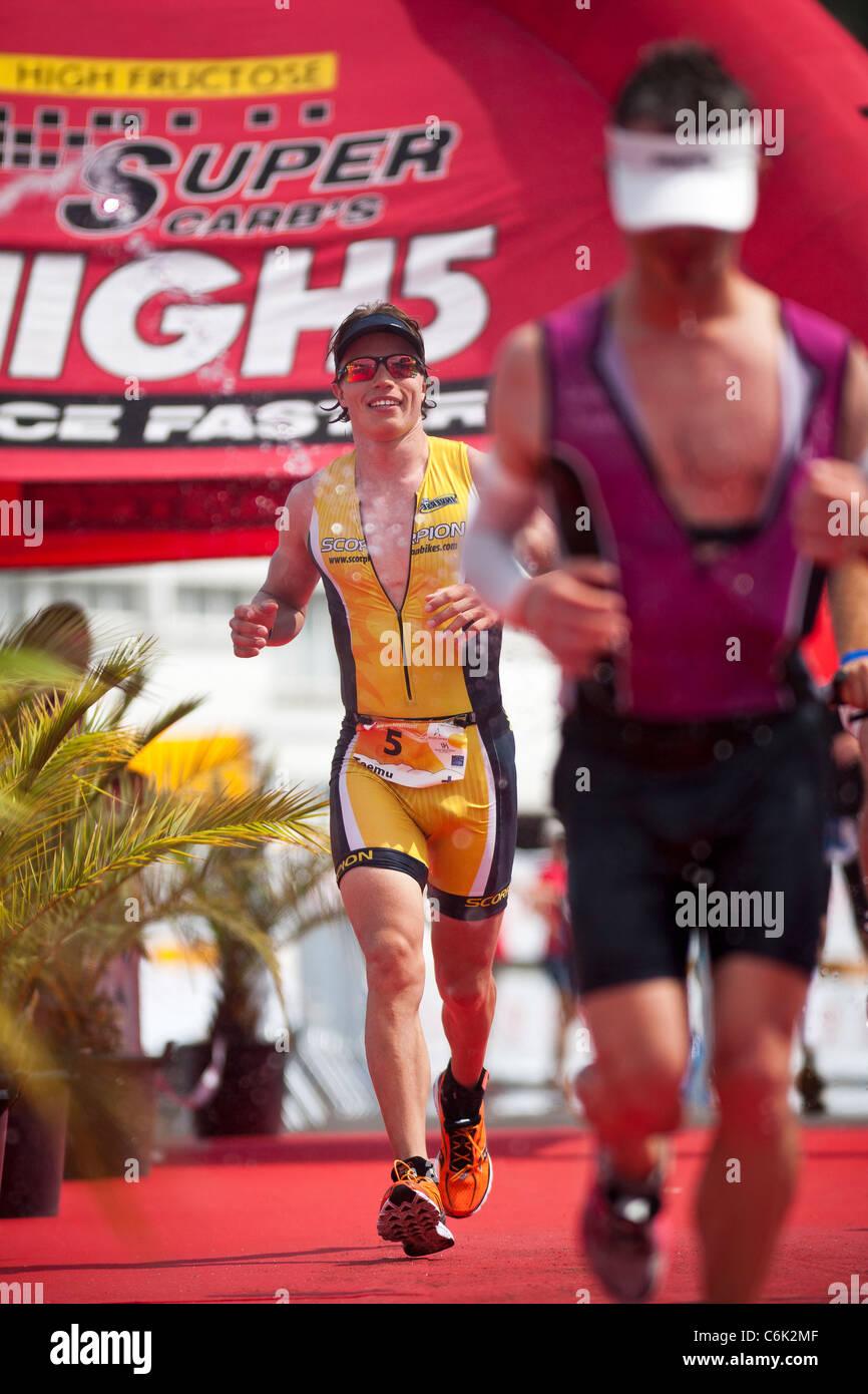 The long distance Triathlon race 'Challenge Vichy' (France).  Here, the Finn  triathlete Teemu LEMMETTYLÄ - Stock Image