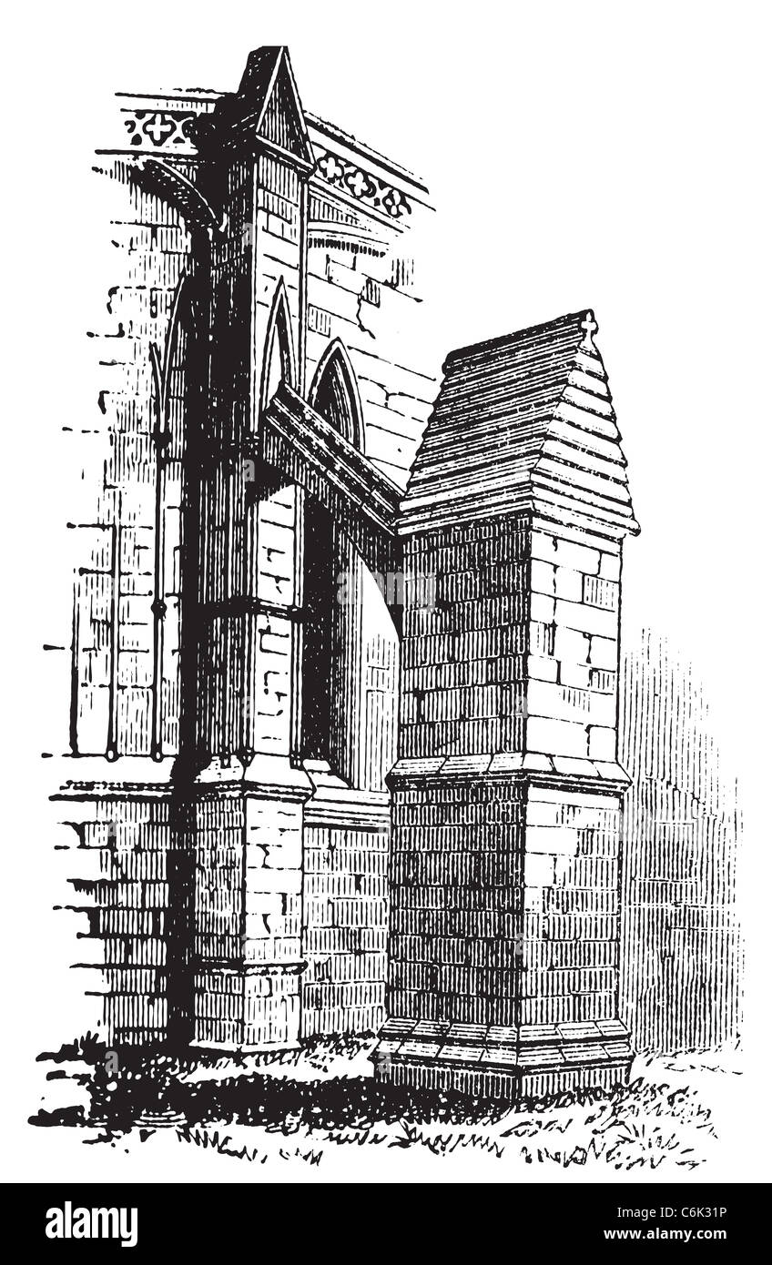 Buttress arch of Lincoln Cathedral chapter, England. Old engraving. Old engraved illustration of a buttres arch Stock Photo