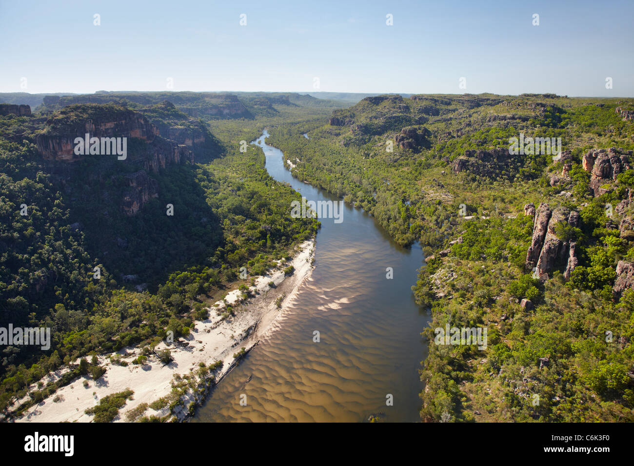 East Alligator River Valley, at the edge of Kakadu National Park, Arnhem Land, Northern Territory, Australia - aerial Stock Photo