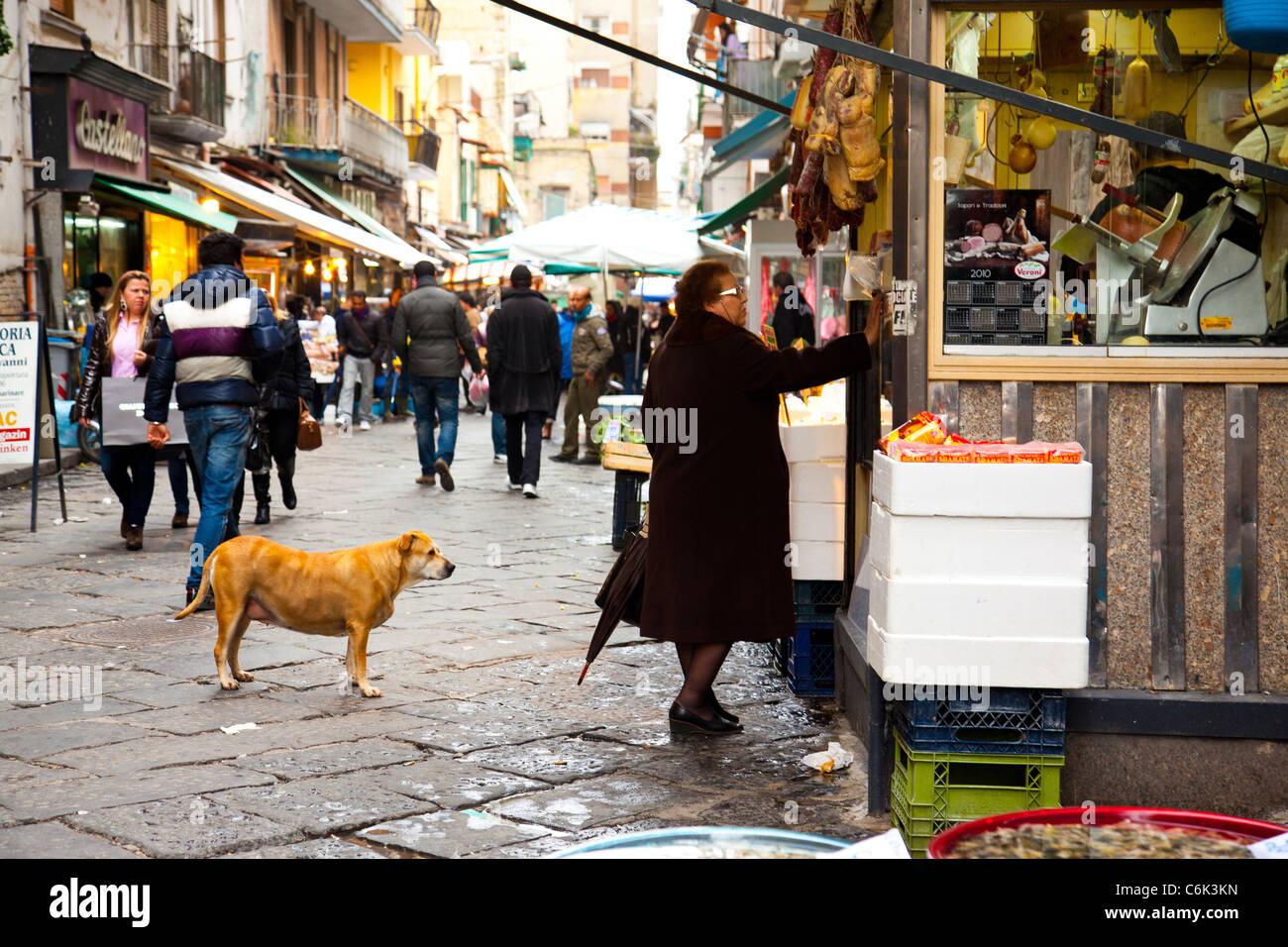 The street market of Mercato di Porta Nolana in Naples Italy. - Stock Image