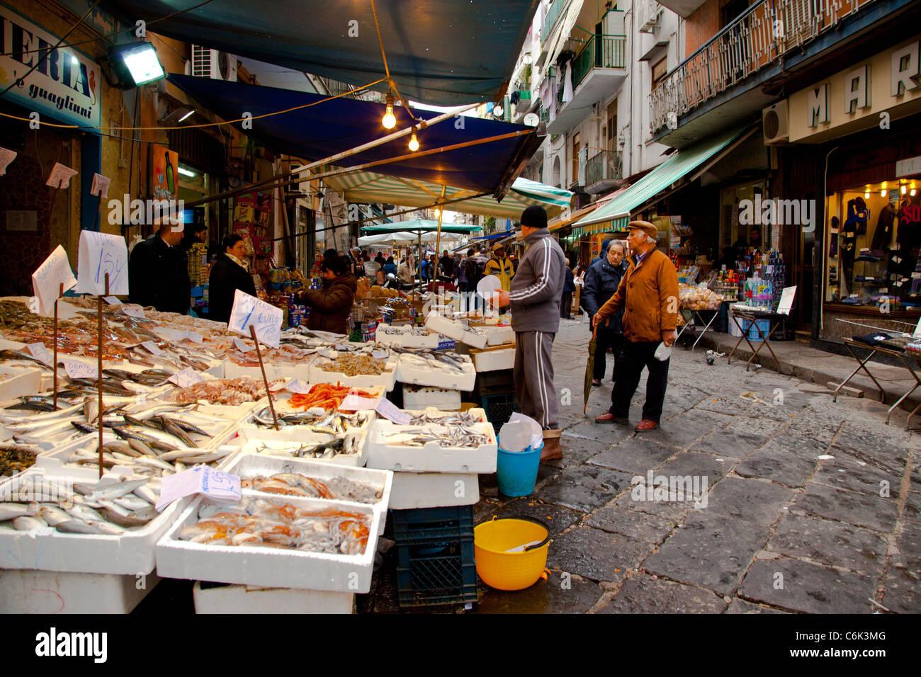 The street market of Mercato di Porta Nolana in Naples Italy. Stock Photo