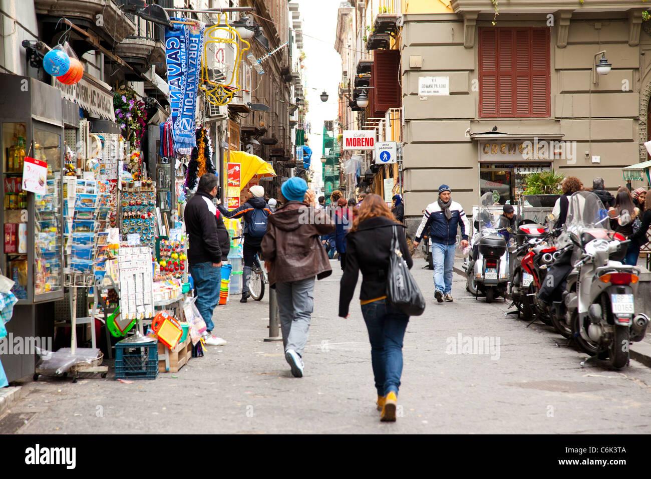 Looking towards via Giovanni Paladino in Naples. - Stock Image