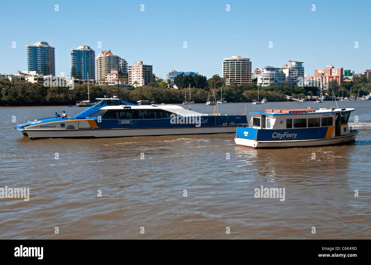 City Cat Ferry on the Brisbane River, Brisbane, Queensland,  Australia - Stock Image