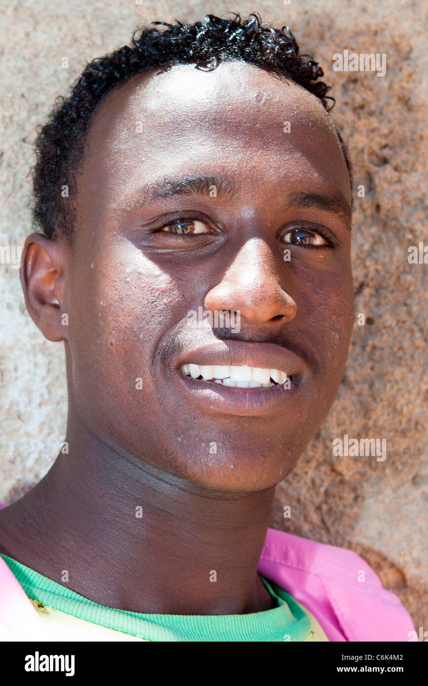 Portrait of an Harari student in the walled ciyy of Harar, Eastern Ethiopia, Africa. - Stock Image