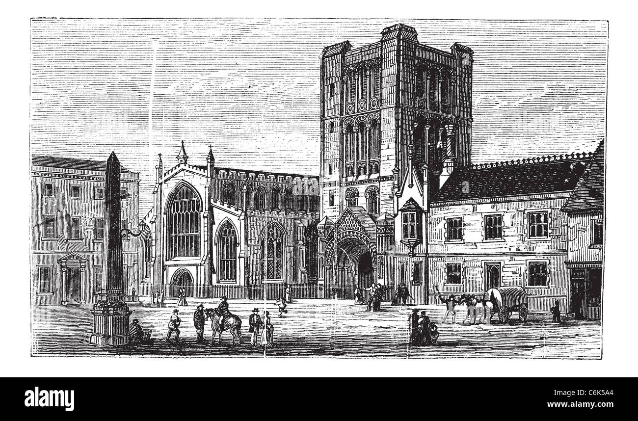 Bury St Edmunds, market town, Suffolk, England, old engraved illustration of Bury St Edmunds, market town, England, - Stock Image