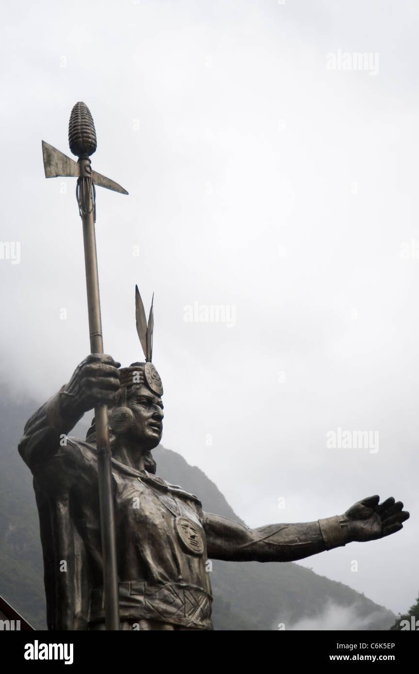 Low angle view of a statue of Pachacuti, Aguas Calientes, Urubamba Province, Cusco Region, Peru - Stock Image
