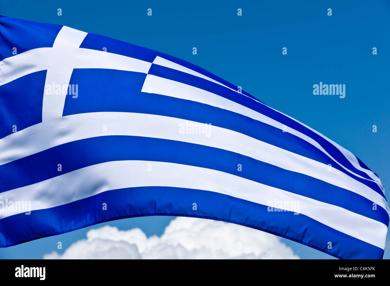 Greek National Flag - Stock Image
