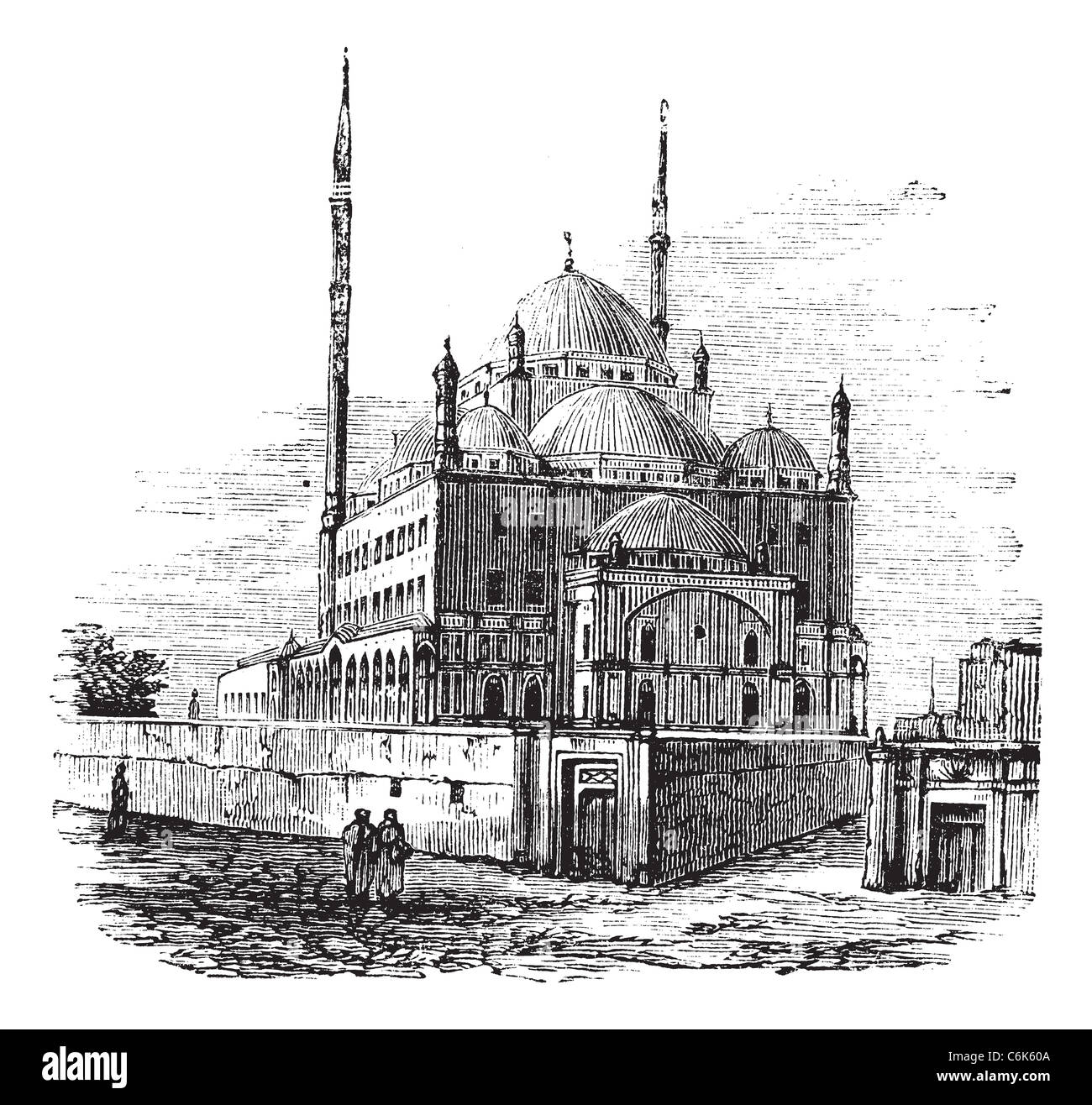 Mosque of Muhammad Ali, Citadel of Cairo, Egypt. Vintage engraving. Old engraved Illustration of the Muhammad Ali - Stock Image