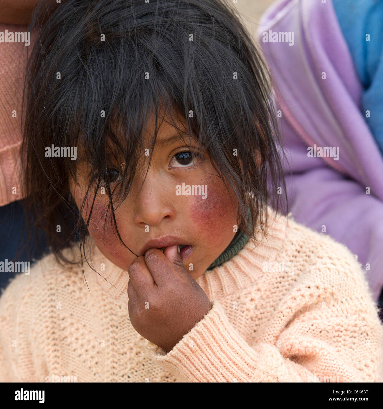 Portrait of a girl with tousled hair, Sacred Valley, Cusco Region, Peru - Stock Image