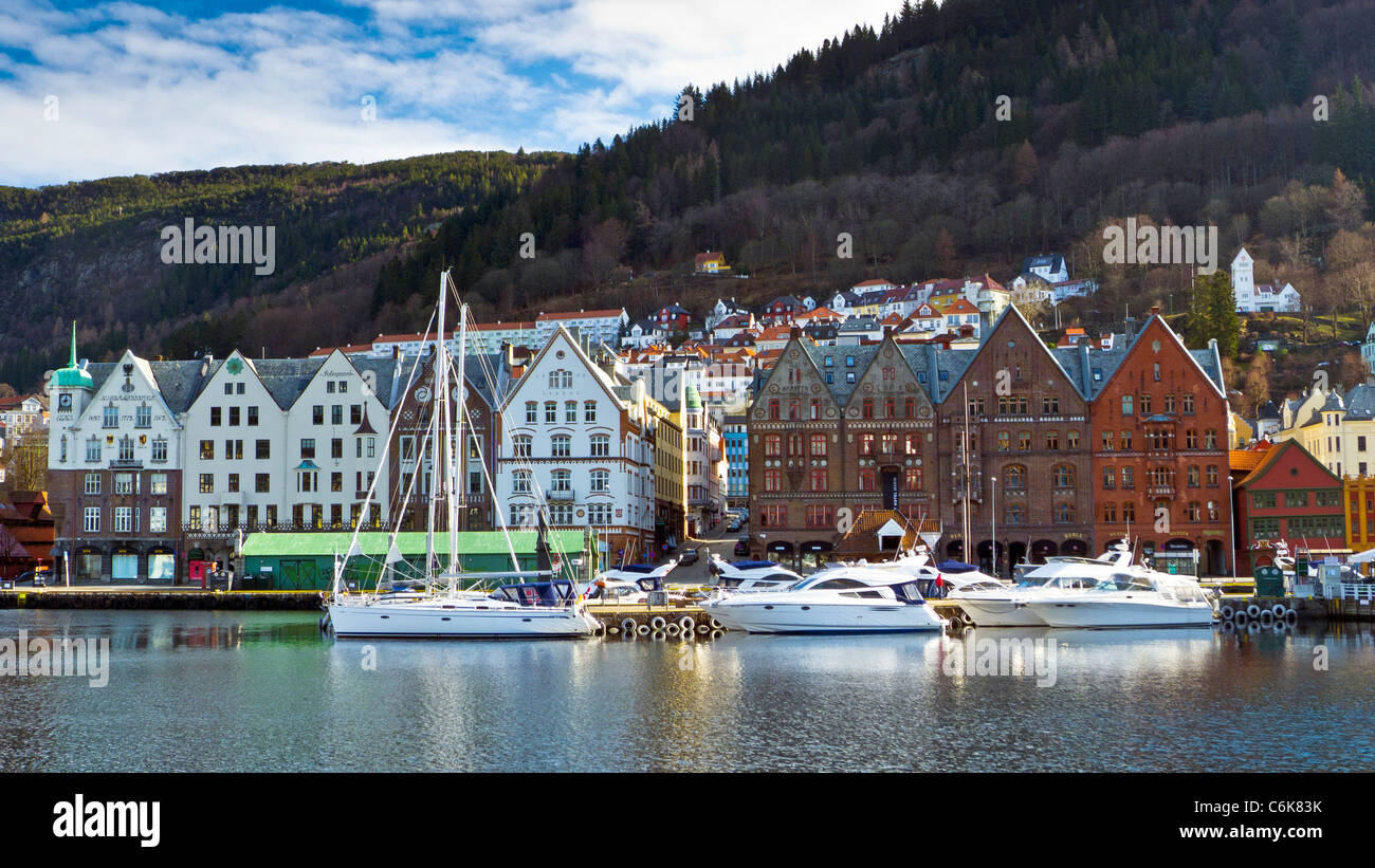 The historic Bryggen, Hanseatic Wharf, Bergen Norway - Stock Image