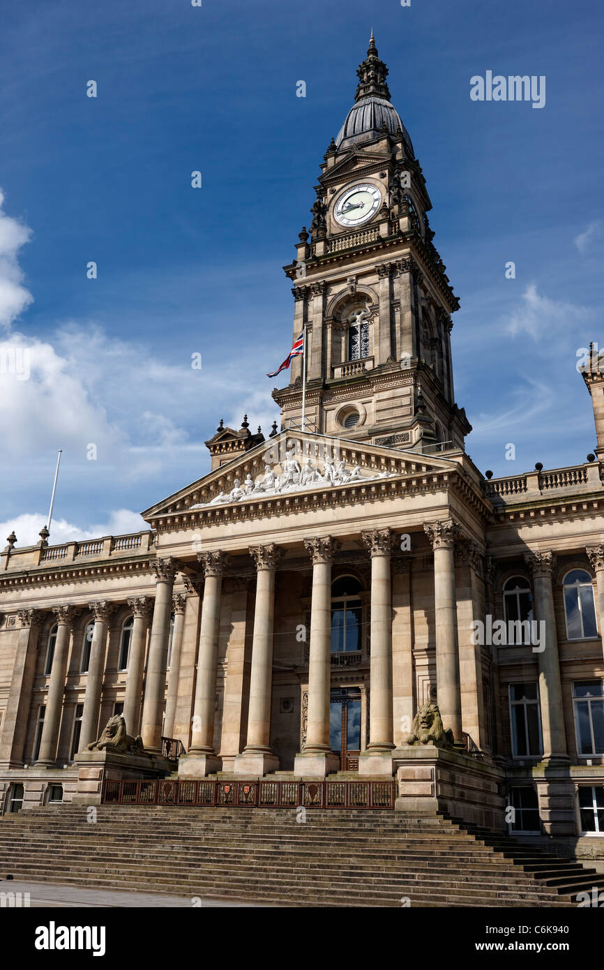 Bolton Town Hall, originally opened in 1873 and designed by the Leeds architect William Hill. Stock Photo