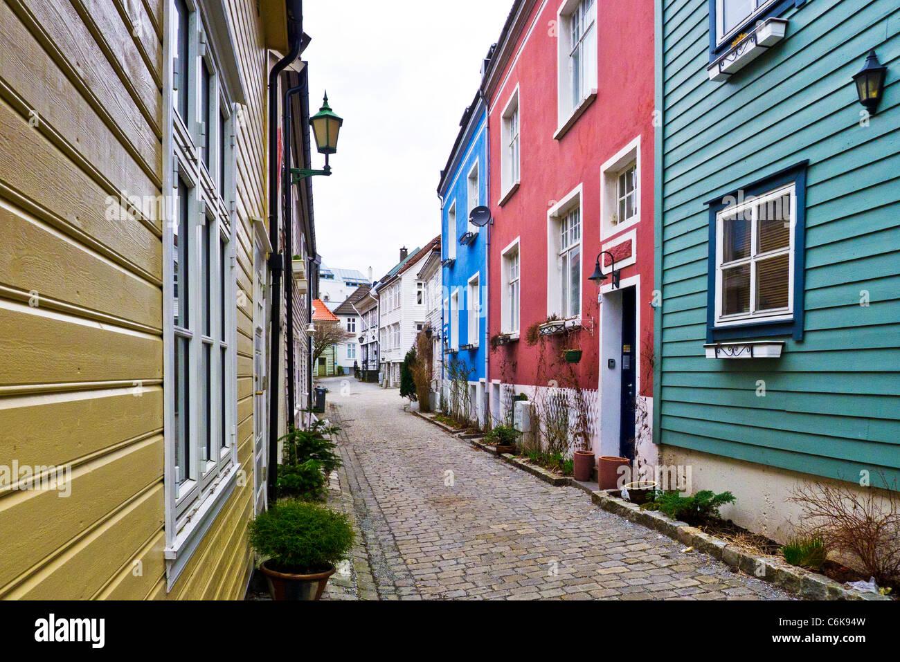 Historic old wooden houses in  Gronnevollen street, Marken, Bergen, Norway - Stock Image