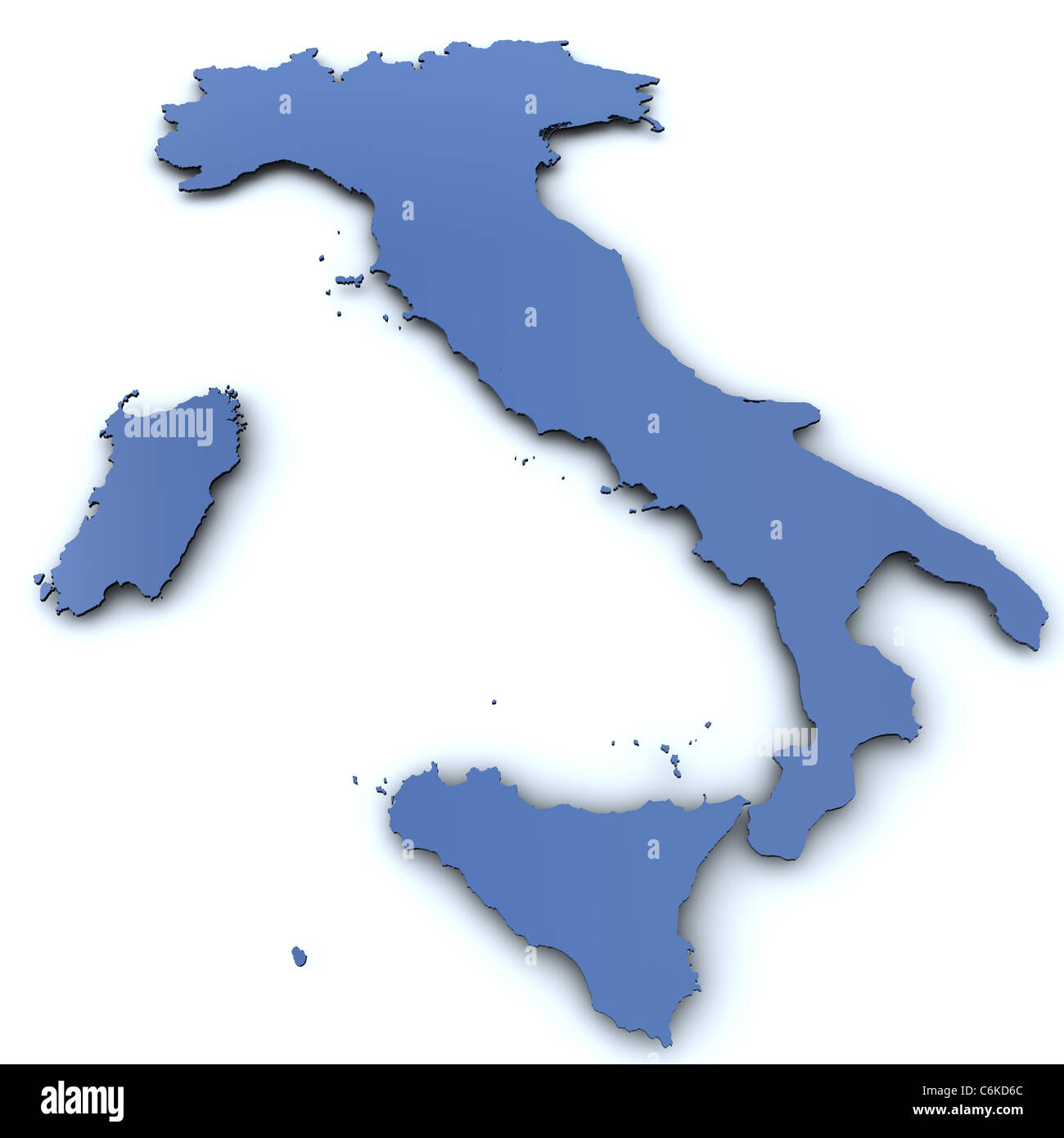 3d Rendered Blank Map Of Italy Stock Photo 38536132 Alamy