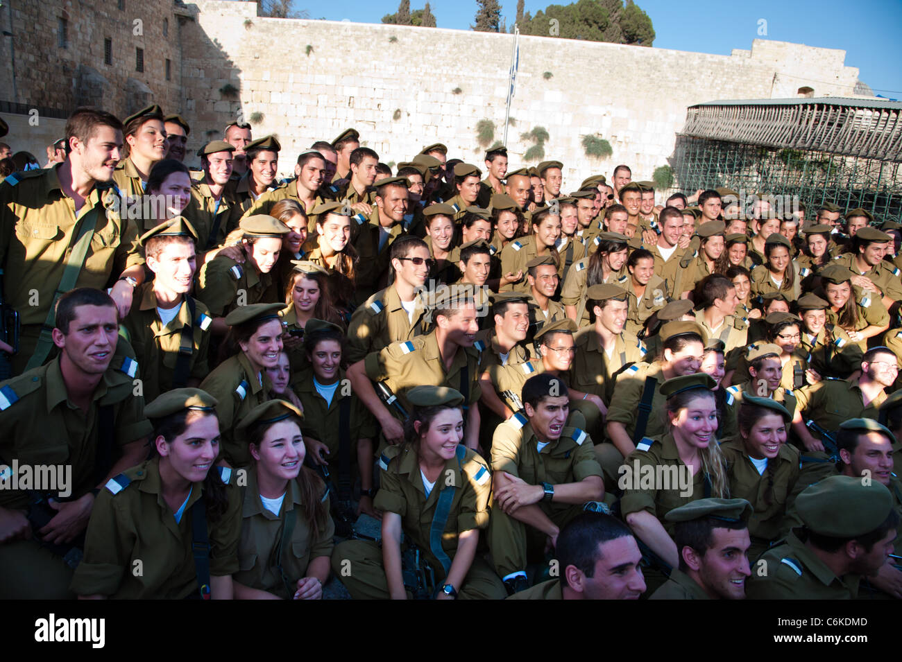 Graduates of the Israeli Army's Marva program, which allows young Jews from other countries to receive military - Stock Image