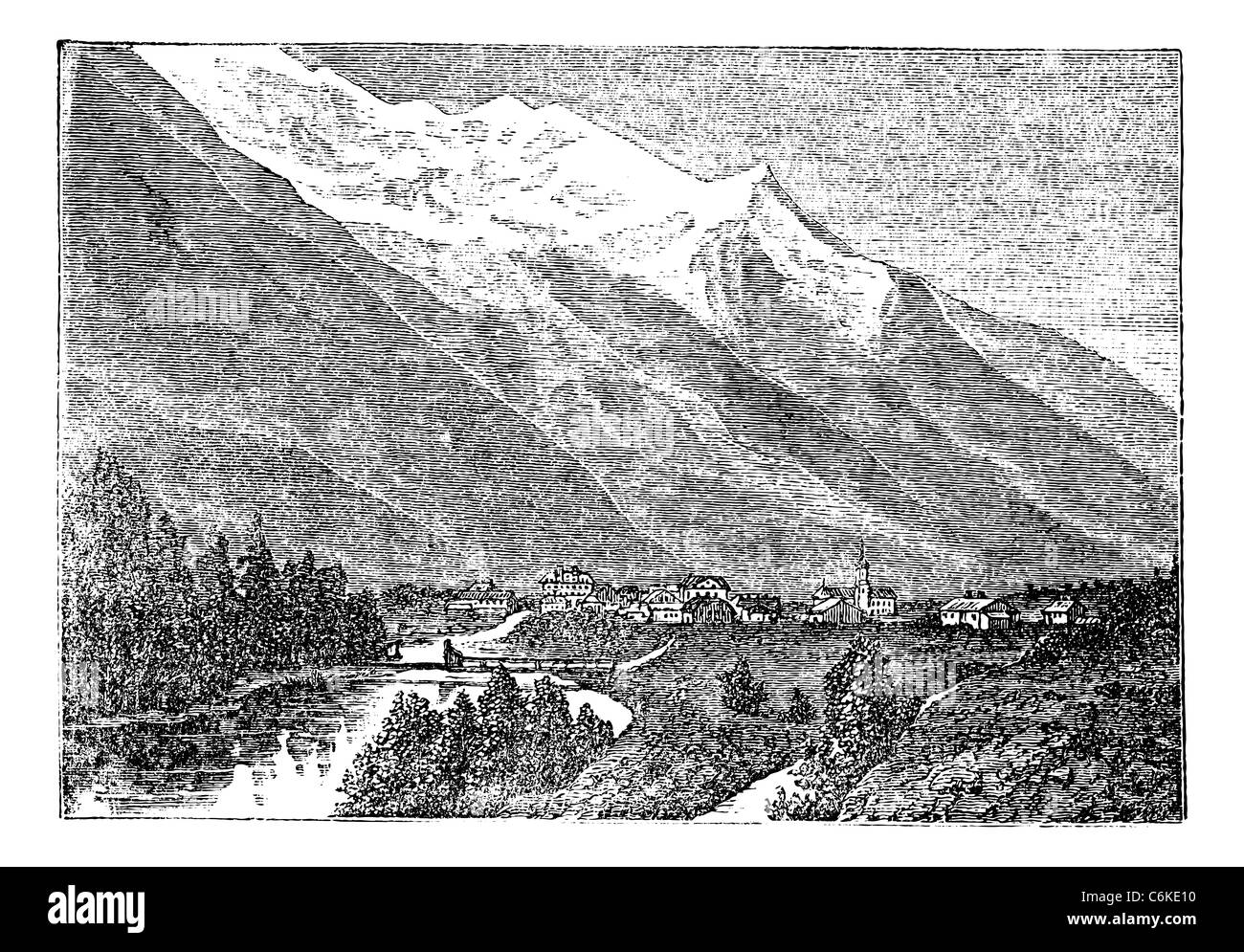 Mont Blanc, Monte Bianco, le Mont Blanc near Chamouny vintage engraving. Old engraved illustration of Mont Blanc - Stock Image