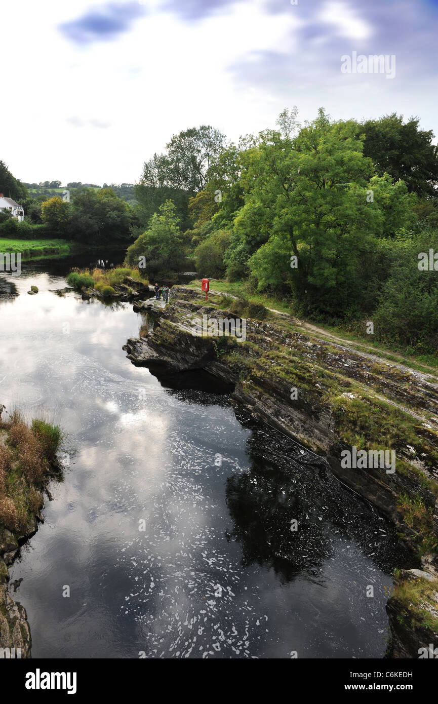 The River (or Afon) Teifi from Cenarth Bridge forming the border between Carmarthenshire and Ceredigion in West Stock Photo