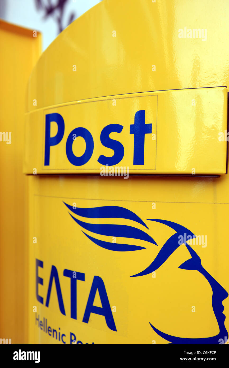 Greek post box managed by the state owned Hellenic Post, ELTA - Stock Image