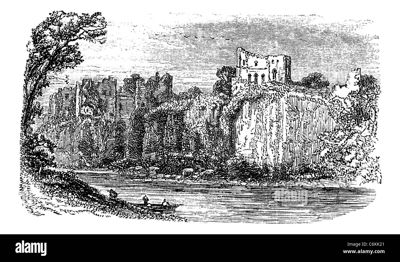 Chepstow Castle, in Monmouthshire, Wales, during the 1890s, vintage engraving. Old engraved illustration of Chepstow - Stock Image