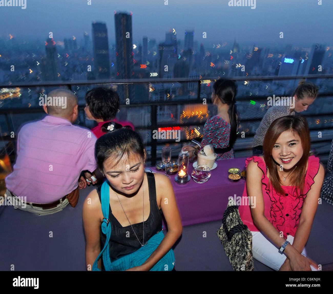 Banyan Tree Rooftop Vertigo & Moon Bar , Bangkok , Thailand  - Stock Image