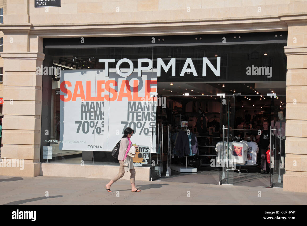 A sale being advertised in the front window of the Topman clothing store,  SouthGate Bath 7da130bdcdf