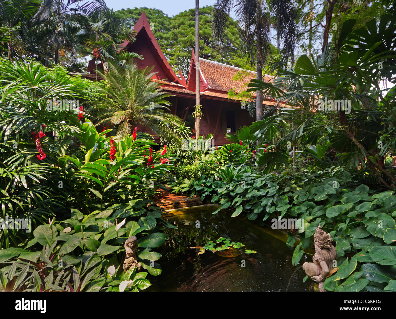 The Jim Jim Tompson House, Tropical Garden, Bangkok, Thailand - Stock Image