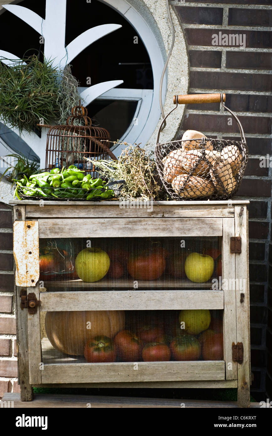 Storage cabinet for fresh fruits and vegetables - Stock Image