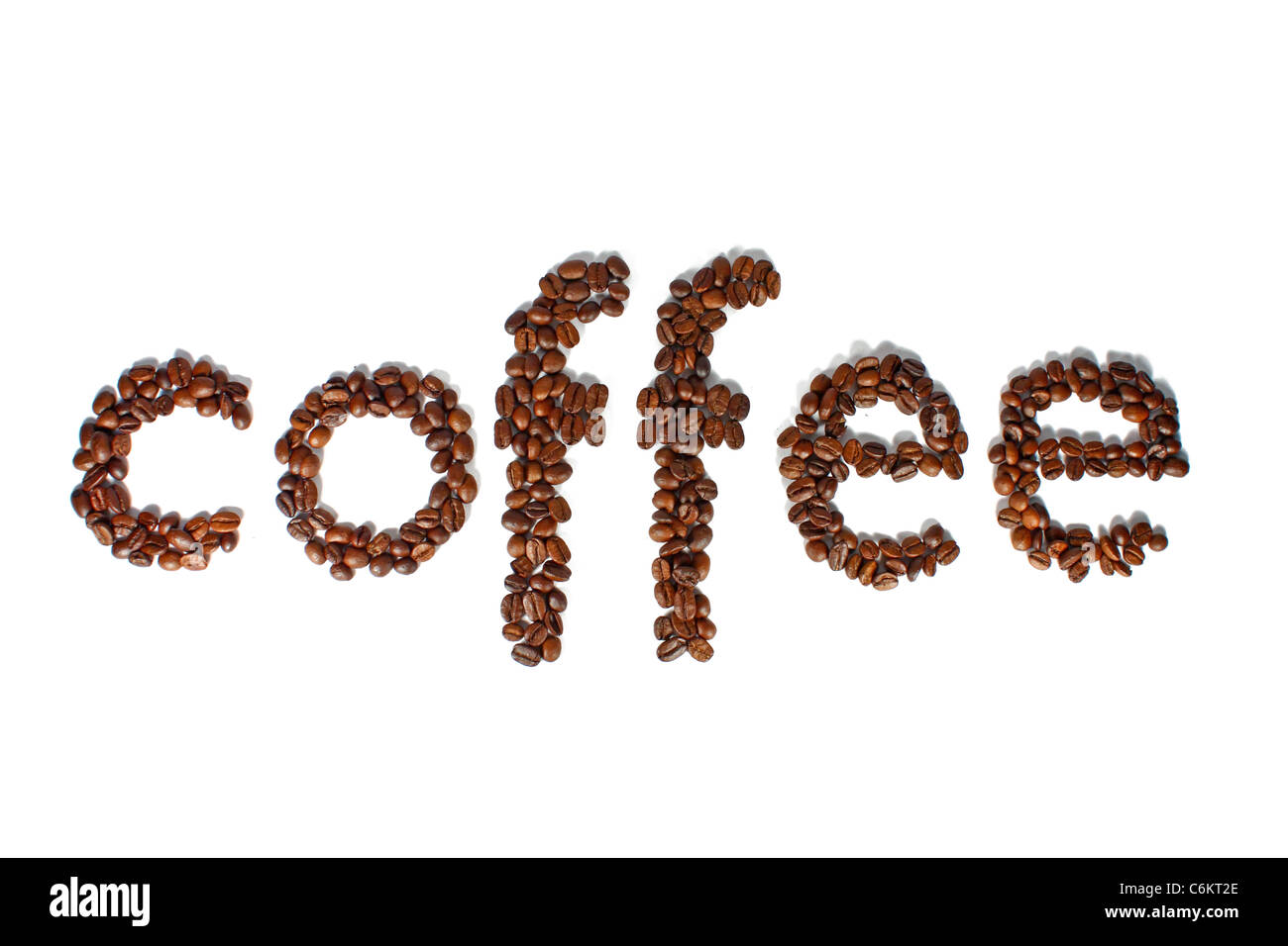 Word coffee made of many coffee beans isolated on white Stock Photo