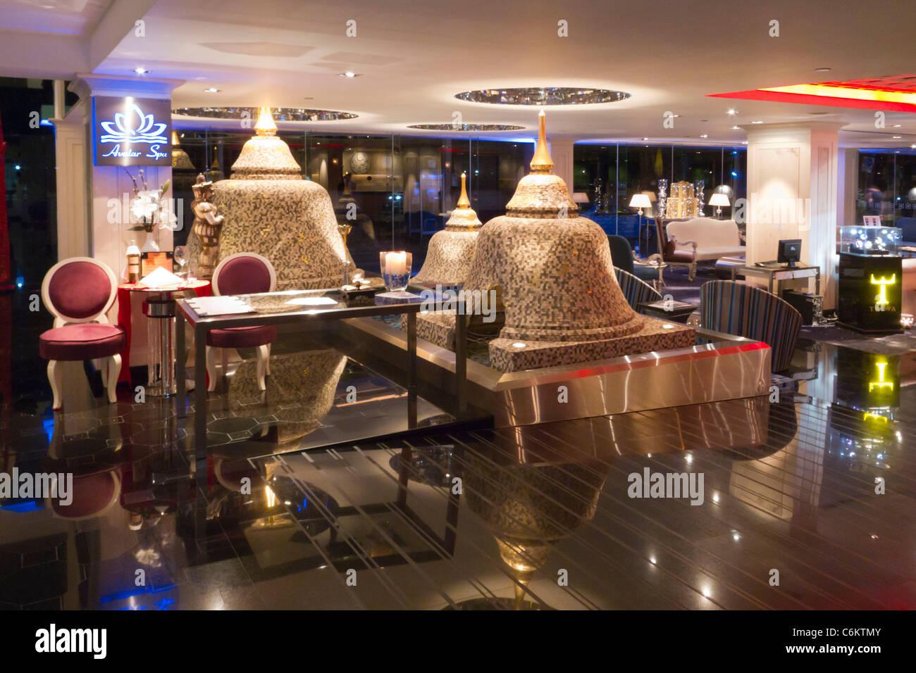 Dream Hotel , Lobby with pagodas, Bangkok, Thailand Stock Photo