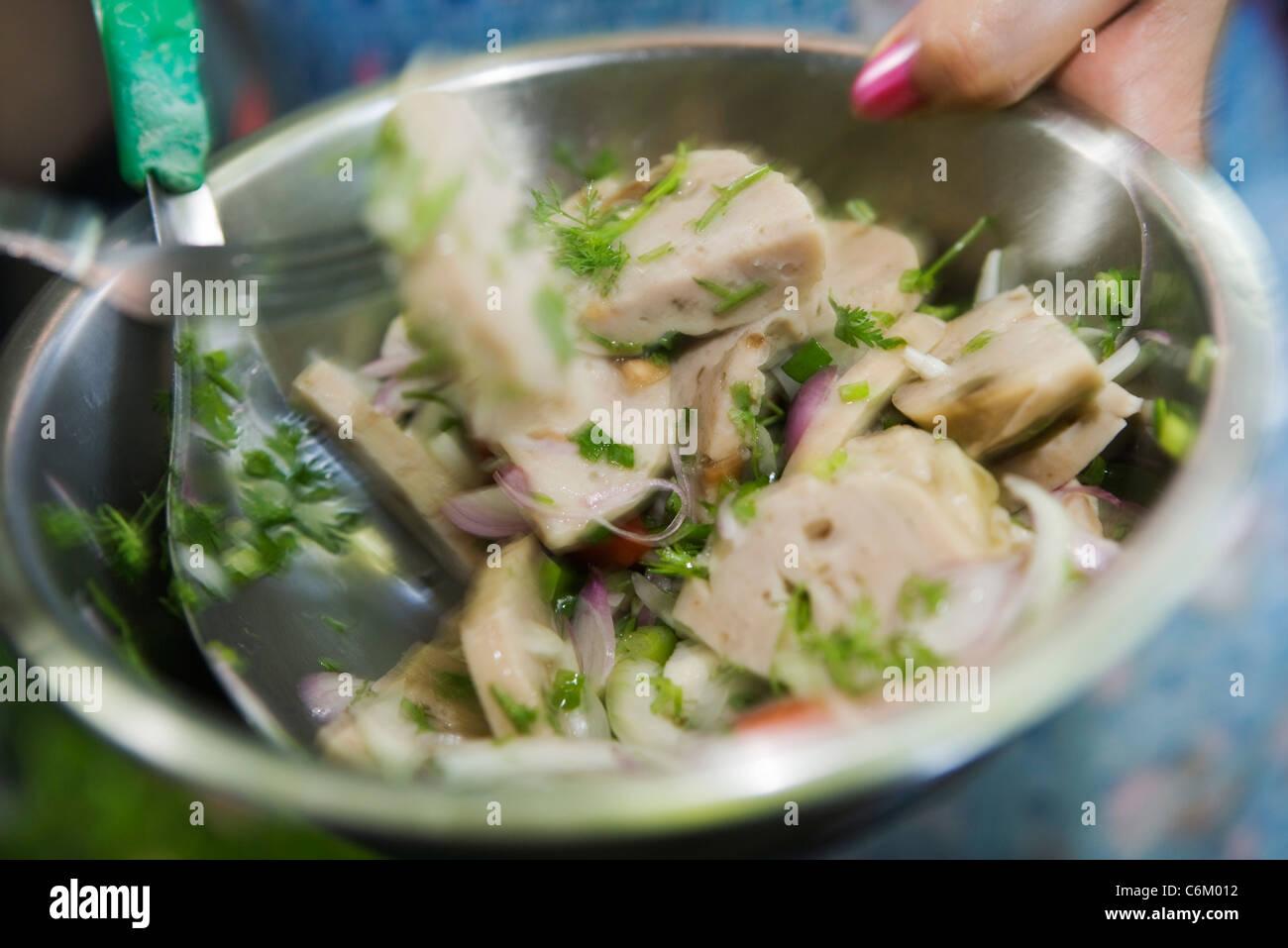 Thai sausage salad - Stock Image