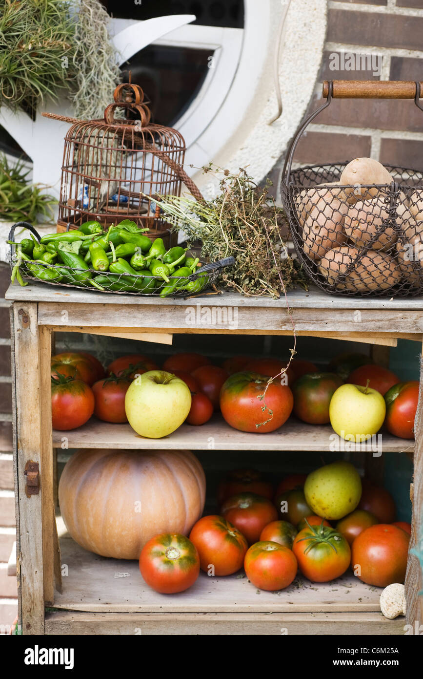 Cabinet used to store fresh fruits and vegetables - Stock Image