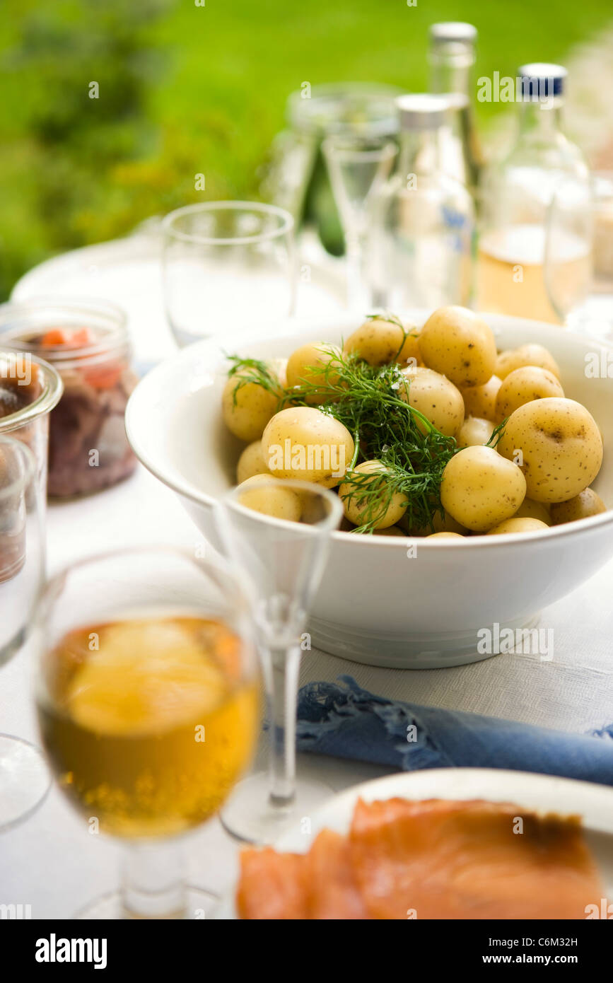 Potatoes with fresh dill - Stock Image