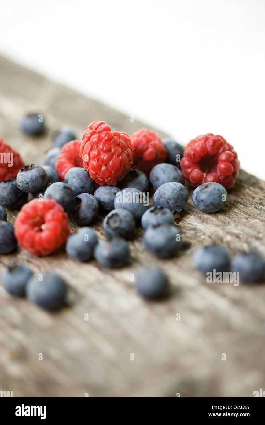 Raspberries and blueberries - Stock Image