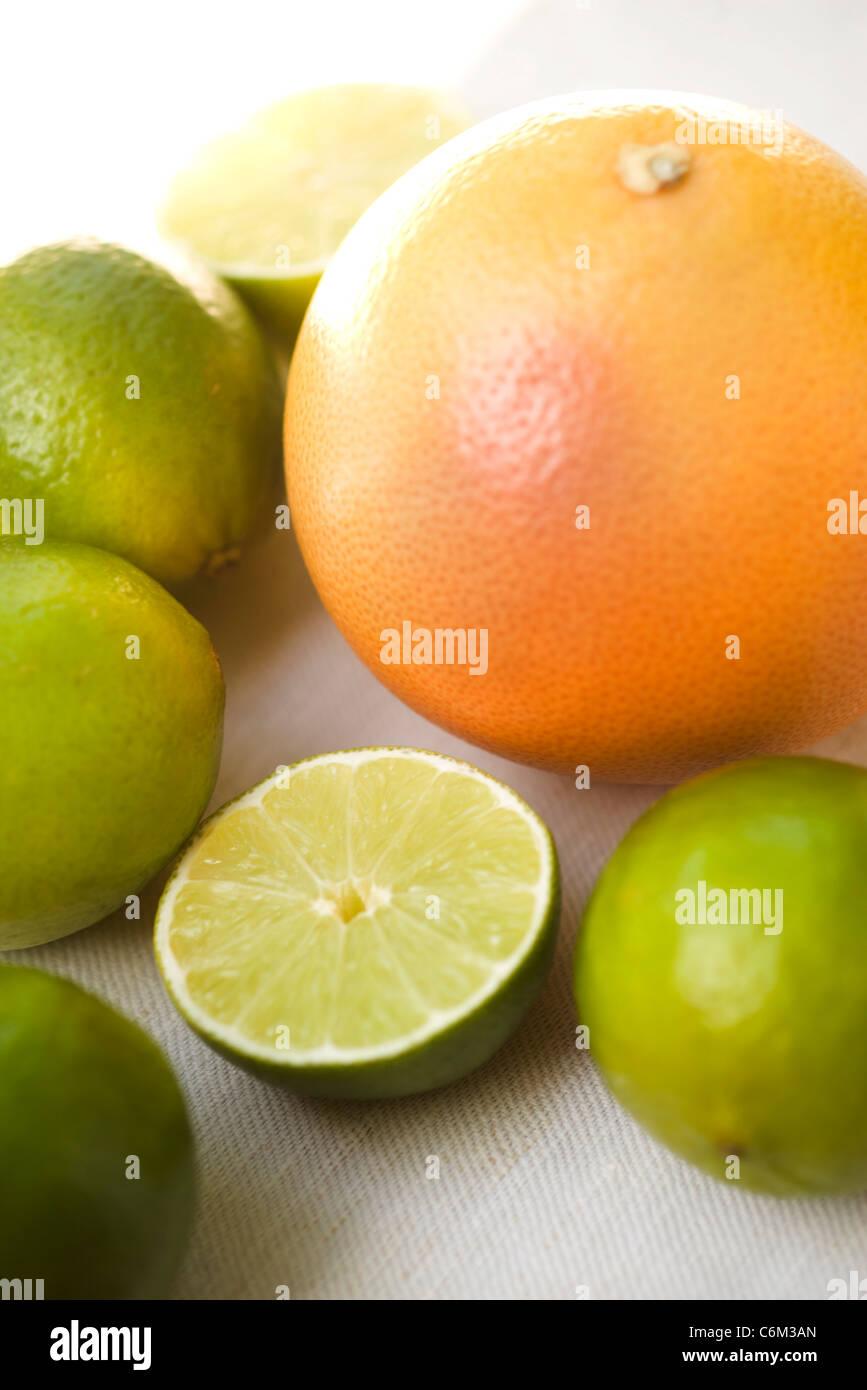 Fresh grapefruit and limes Stock Photo