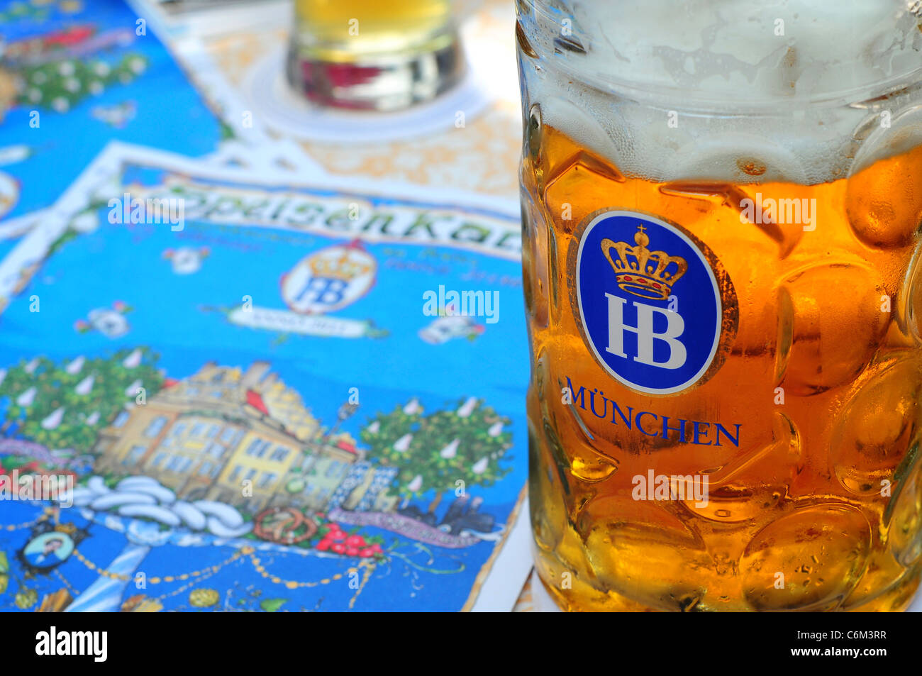 Beer stein at the Hofbrauhaus, Munich, Germany - Stock Image