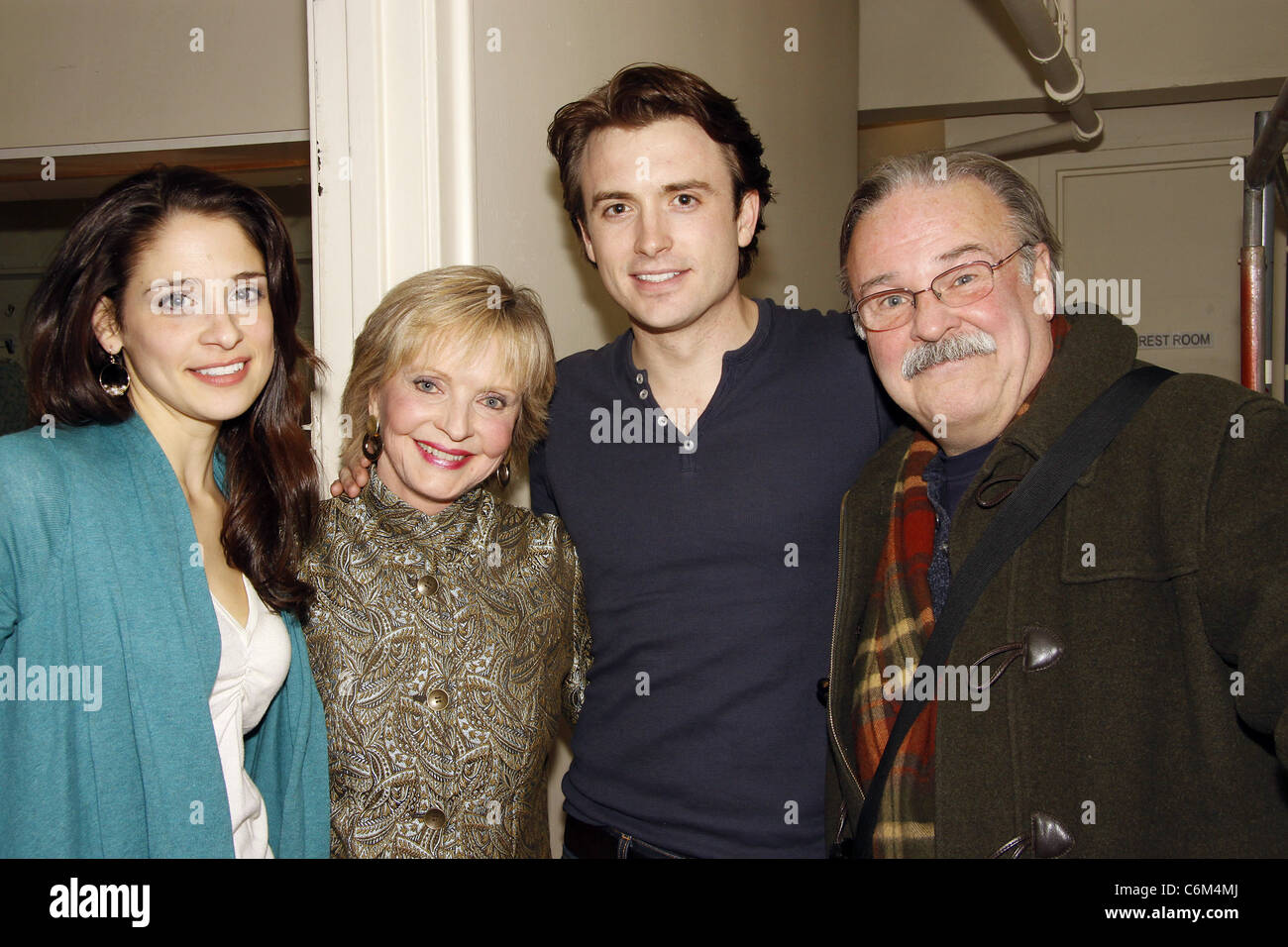 Elena Shaddow, Florence Henderson, James Snyder and Fred Applegate Florence Henderson visits the cast of the Encores! - Stock Image