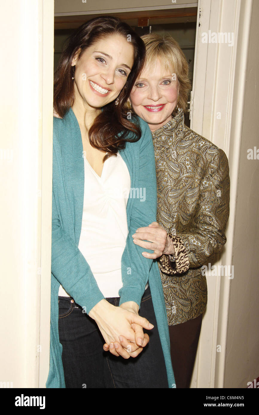 Elena Shaddow and Florence Henderson Florence Henderson visits the cast of the Encores! musical 'Fanny' - Stock Image