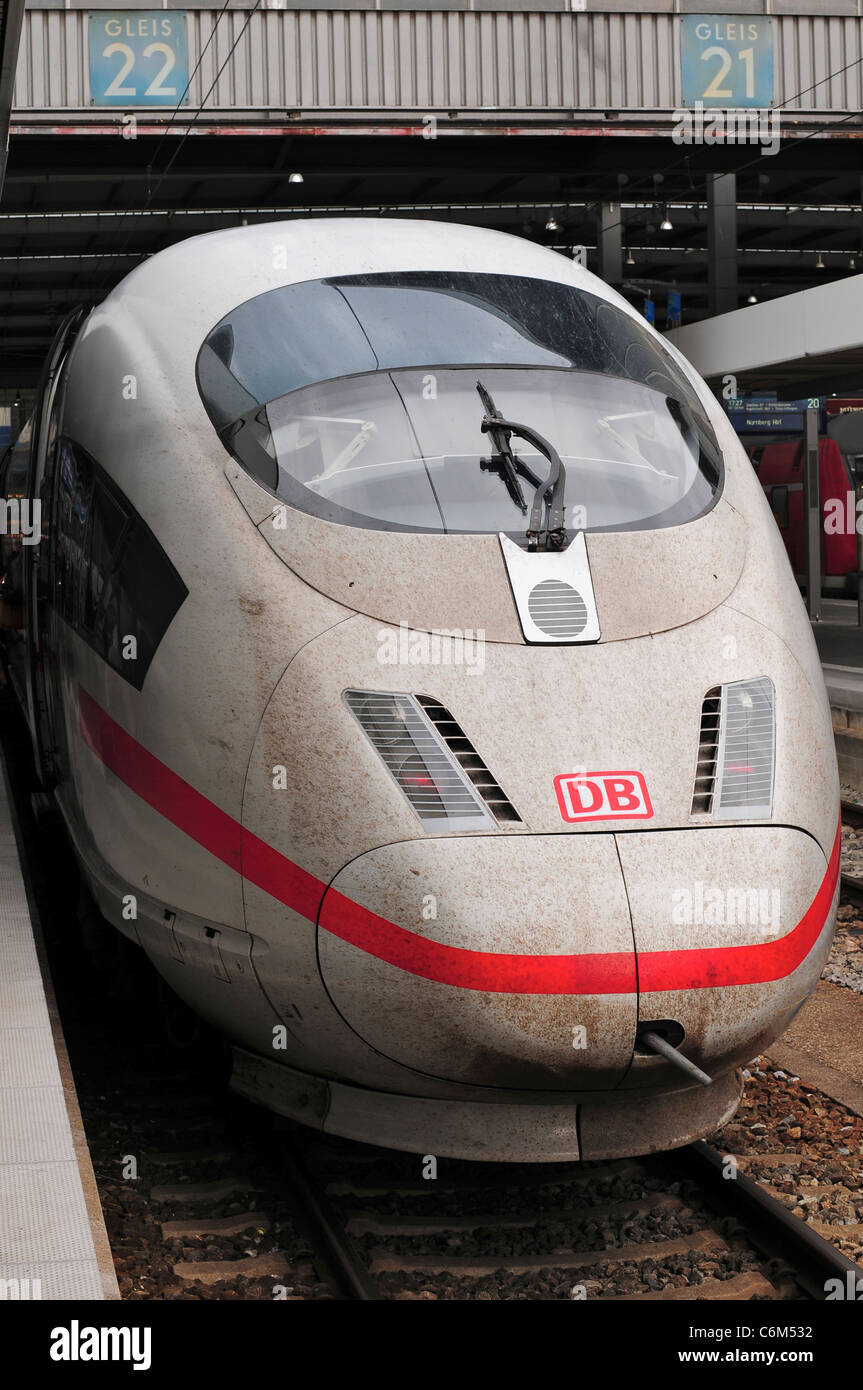 InterCIty Express / ICE train at Munich Station, Munich, Germany - Stock Image