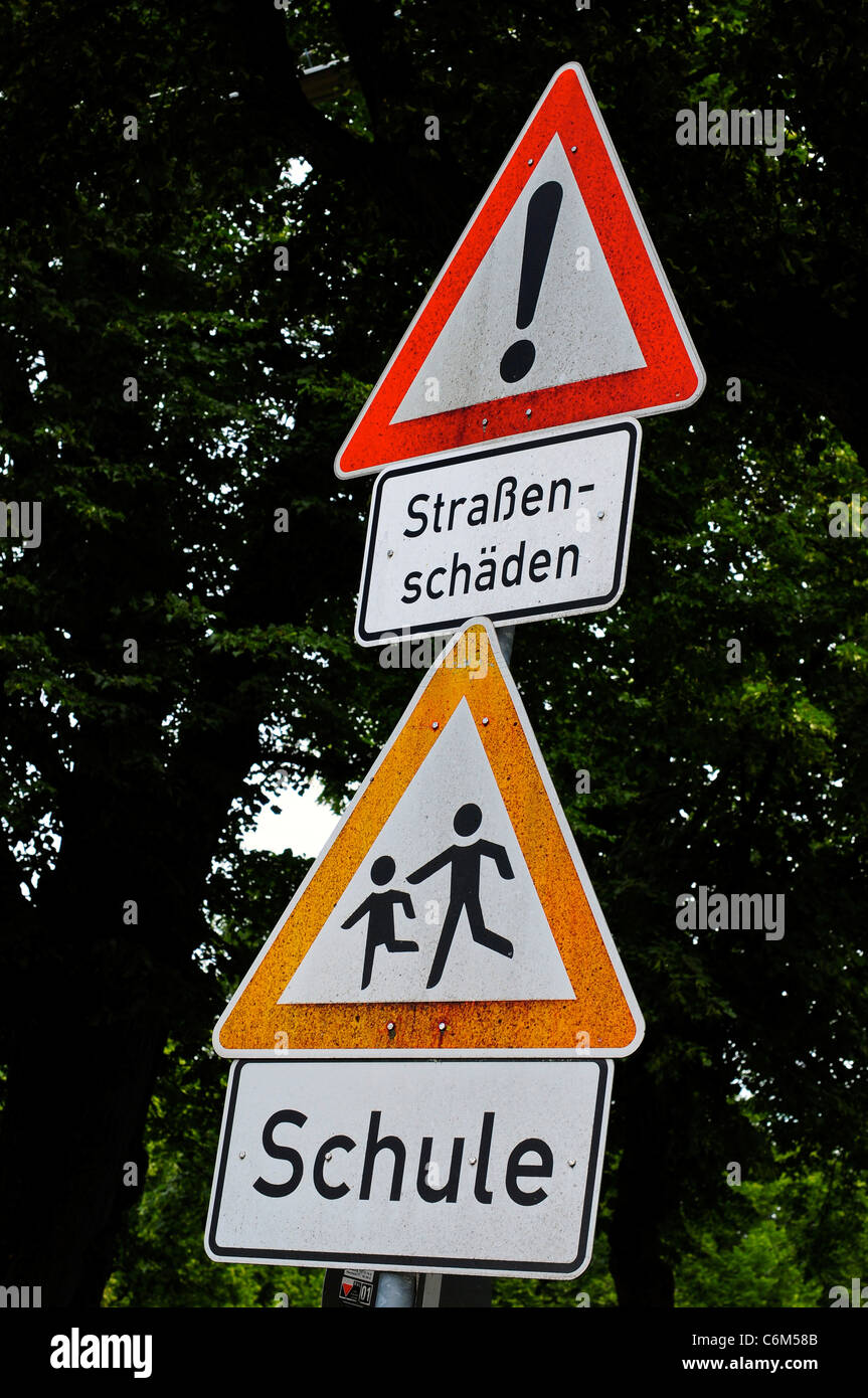 Traffic sign for a school / schule, Munich, Germany Stock Photo