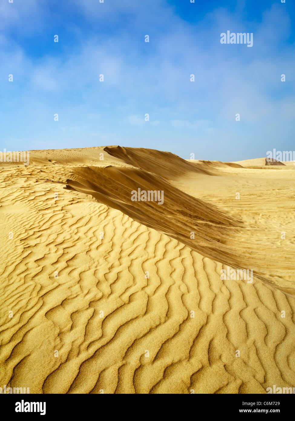 landscape of sand dunes at Oceano Dunes in Pismo Beach, California - Stock Image