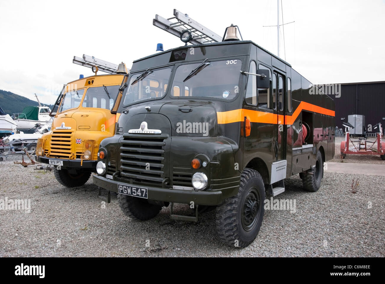 Two 1950's Bedford Green Goddesses Fire Engines - Stock Image