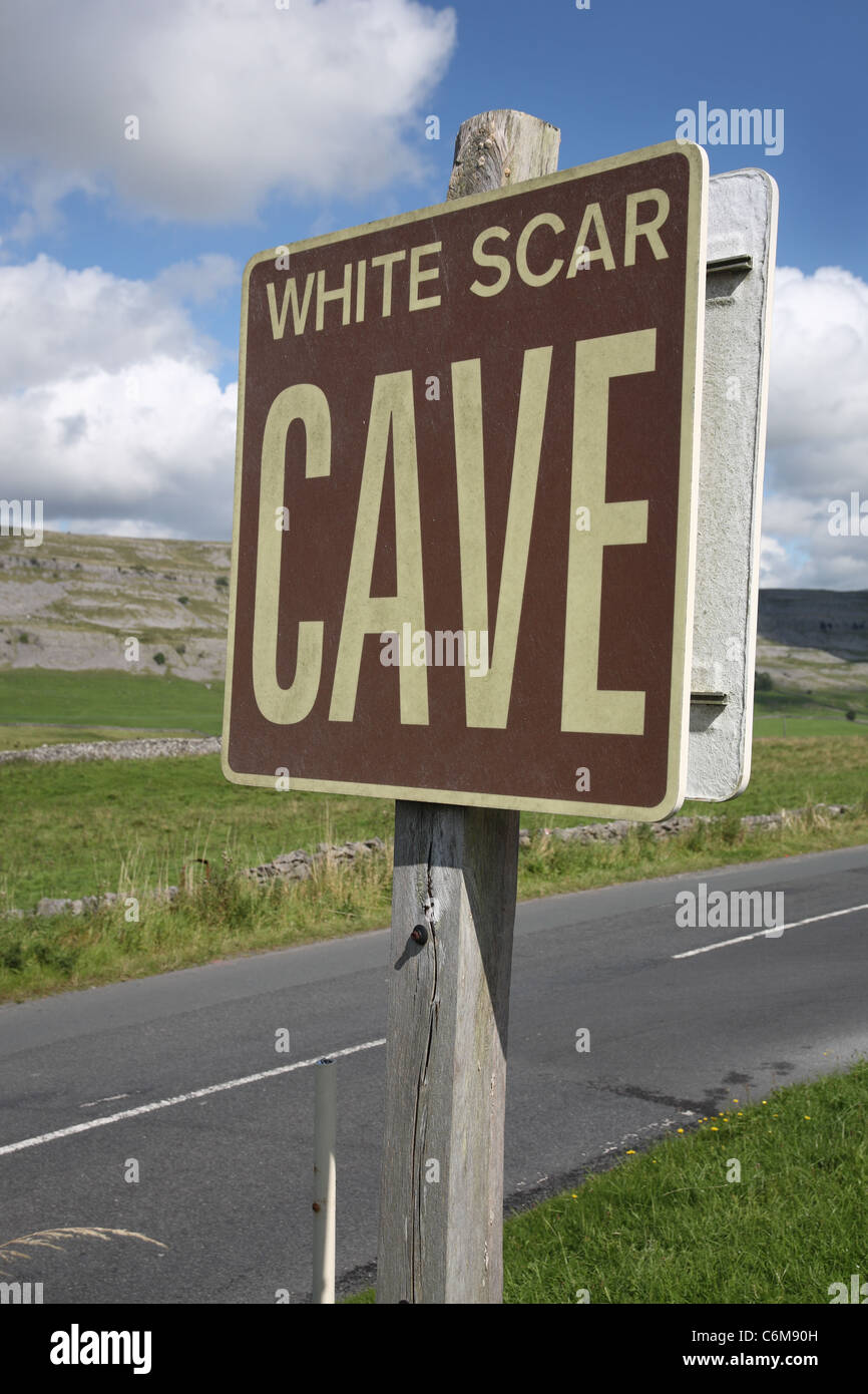 sign for white scar caves, Ingleton, yorkshire dales - Stock Image